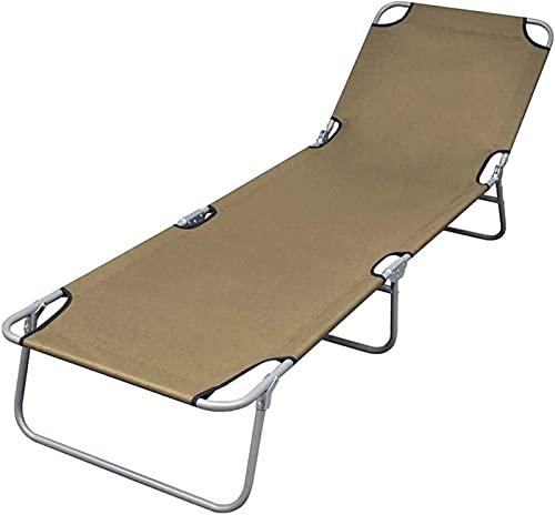 HCMNME Tumbona Plegable SunSounger Plegable con el Patio Ajustable del Patio del Patio cómodo de la Tumbona para el Asalto al Aire Libre de Taupe