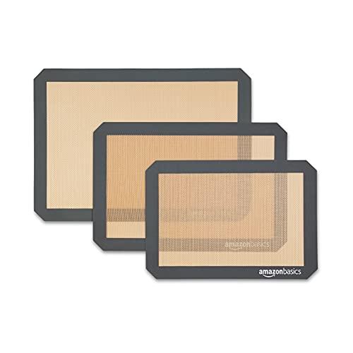 Amazon Basics - Tapete de silicona para hornear, juego de 3 unidades