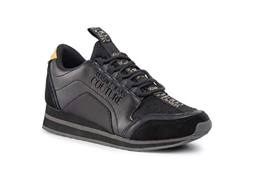 Versace - Zapatillas deportivas para mujer, color negro y dorado, Negro (Negro ), 37 EU