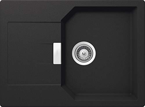 Schock kompakte Küchenspüle 69 x 51 cm Manhattan D-100S Onyx - CRISTALITE dunkelgraue Granitspüle mit verkürzter Abtropffläche ab 45 cm Unterschrank-Breite, MAND100SAGON