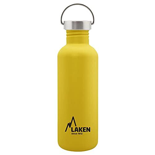 Laken Basic Botella de Acero Inoxidable con Tapón de Rosca Acero y Boca Ancha 1L, Amarillo