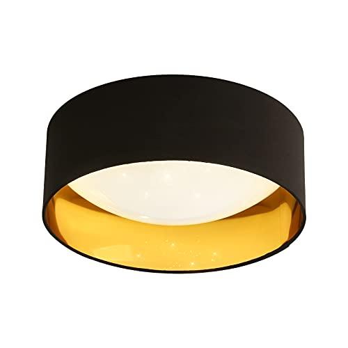 Pheashine Plafón LED 12 W 1000 lm Lámpara de techo LED moderno blanco neutro 3000 K Lámpara de techo Glitterada Negro y Oro Ø32 cm Lámpara efecto estrellas para salón salón
