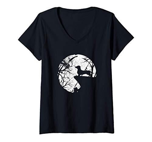 Mujer Divertido disfraz de perro salchicha de Halloween Camiseta Cuello V