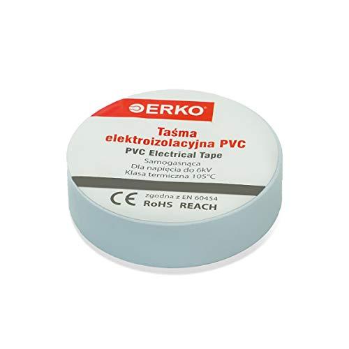 ERKO Isolierband 15 mm x 10 m - Weiß - 10 Stück - für elektrische Leitungen. Hohe Flexibilität und Klebekraft - Isolierband | Klebeband | Dichtungsband