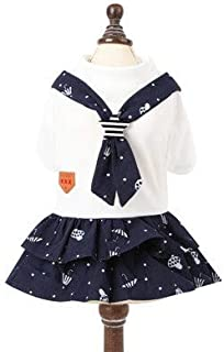 DORLIONA JCPAL Pet Summer Clothes 2018 Dog Navy Lovers Pack Cute Puppy Princess Dress Cotton Pocky Dogs Shorts Yorkie Skir...