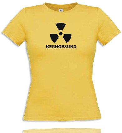 Comedy Shirts kerngesund. T-Shirt pour Femme Diverse Couleurs S à XL Small Jaune/Noir