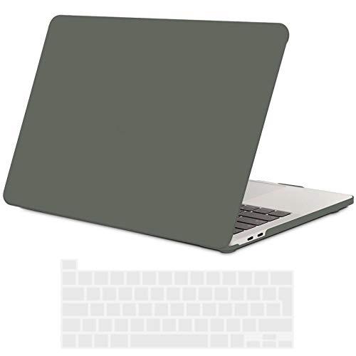 TECOOL MacBook Pro 13 Hülle Case 2020 (Modell: A2338 M1 / A2289 / A2251), Plastik Hartschale Tasche Case + EU Tastaturabdeckung für Apple MacBook Pro 13 Zoll mit Touch Bar - Nachtgrün