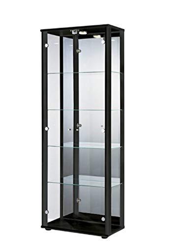 K-Möbel Glasvitrine in Schwarz (176x67x33 cm) mit 4 höhenverstellbaren Glasböden aus ESG, LED, Schloss und Spiegel; beleuchtet; perfekt für Sammler;