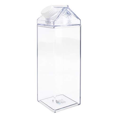 Cabilock 1 Piezas Botella de Agua Clara Cartón de Leche Reutilizable Botella de Agua Jugo de Limonada de Plástico Tarro de Bebidas Botella de Té Helado 500ML