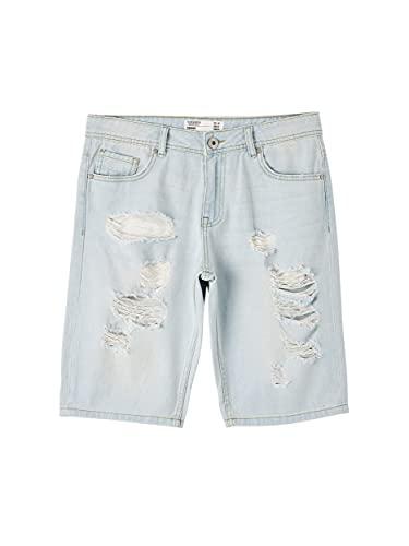 TERRANOVA Shorts Jeans Chiaro con Rotture Uomo