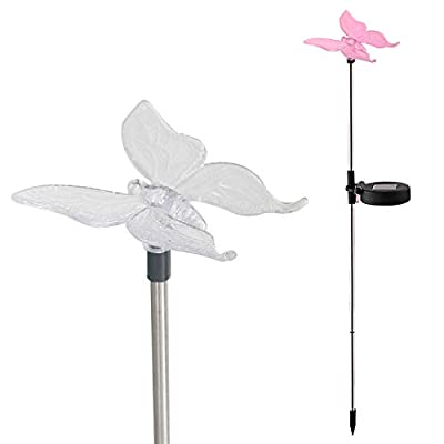 Candle Choice Color Changing Solar Garden Stake Light with Vivid Figurine – Butterfly, LED Garden Light, Landscape Light, In-ground Light Outdoor Light for Garden Decoration and Flower Beds