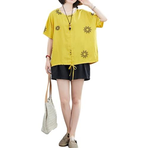 Blusa Informal clásica con Estampado Vintage para Mujer, Camisa de Manga Corta Holgada con Cuello en V y...