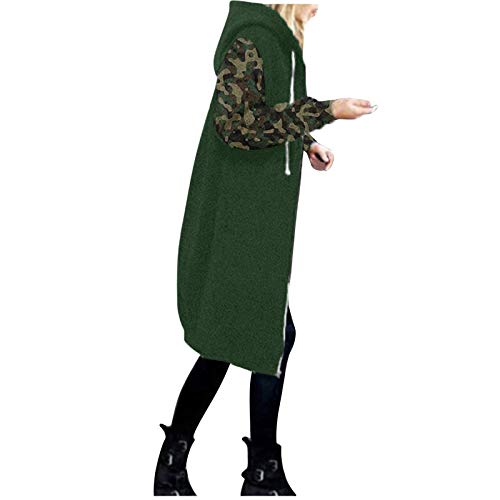 OverDose Damen Herbst Winter Outing Stil Frauen Warm Reißverschluss Clubbing Dating Elegante Hoodies Sweatshirt Langen Mantel Jacke Tops Outwear Hoodie Outwear Kapuzenpullover (X-Farbblock 7, 36)