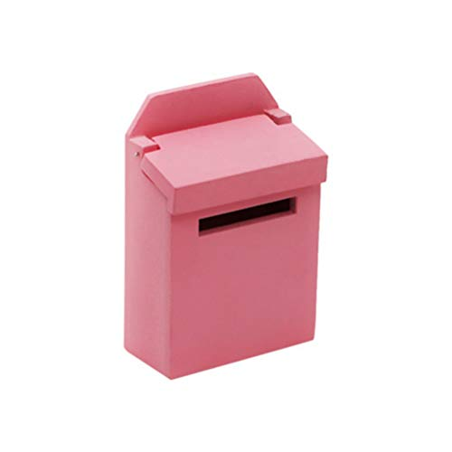 Healifty 1:12 Dollhouse Ornament Miniature Wood Mailbox for Dollhouse Accessories Dollhouse Decoration Furniture Toy Gift (Pink)