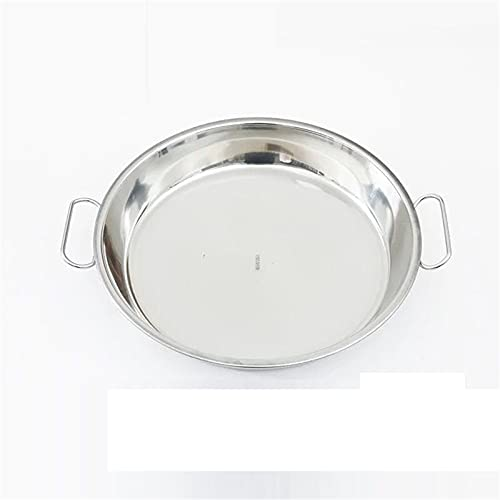 2 PCS Stainless Steel Serving Dishes Effecter Steam Cup With Ears Soup Bowl Mixer Bowl Deal Plate Multipurpose Slice With Flat Ground Salad Bowl (Size : 28cm)