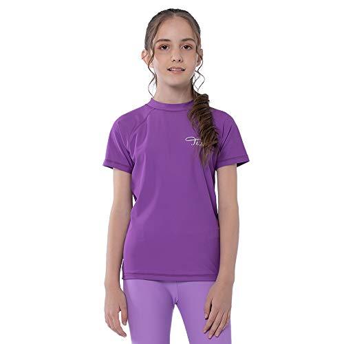 TIZAX Maglietta Nuoto UV a Maniche Corte da Bambina Costume da Bagno per Ragazze Rashguard per Surf Nuoto Immersione Spiaggia UPF 50+ Viola 116
