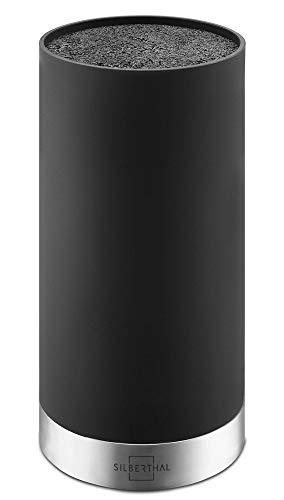 SILBERTHAL Universal Messerblock ohne Messer - herausnehmbarer Borsteneinsatz - Rund - Schwarz - Recyceltes Plastik mit Edelstahlring