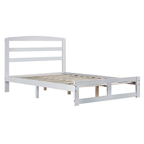 Solid Wooden Bed Frame Pine Horizontal Plank Natural Sturdy Pine Solid Bed Single Bed White 4FT6