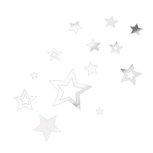 Qinghengyong 13pcs / Set 3D-Sterne-Spiegel-Wand-Aufkleber DIY Acryl Dekoration Hintergrund Stars Mirrored Abziehbilder Removable Home Decoration Wallpaper