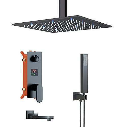 Sistema de ducha empotrado con LED, 3 funciones, 12 pulgadas, juego de ducha con techo, instalación de ducha, alcachofa de mano, bañera, color negro mate