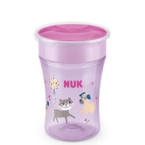 NUK Magic Cup Trinklernbecher | auslaufsicherer 360°-Trinkrand | 8+ Monate | BPA-frei | 230 ml | Hund/Katze (lila)