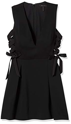 BCBGMax Azria Women's Kalie Woven V-Neck Dress with Lace Up Sides, Black, 8
