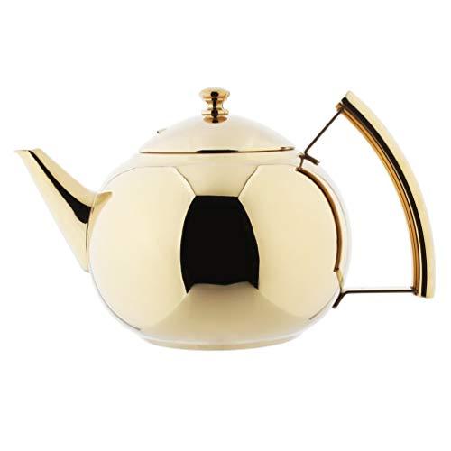 AMOMGard - Tetera con filtro extraíble de acero inoxidable, tetera de té, para té, té, té, té, té, té, tetera de café, inducción, cocina de gas, Golden 2 L