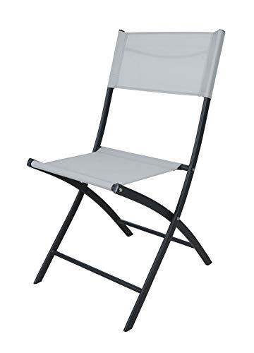 Metall Klappstuhl schwarz weiß - 79 cm - Gartenstuhl Balkonstuhl Camping Stuhl