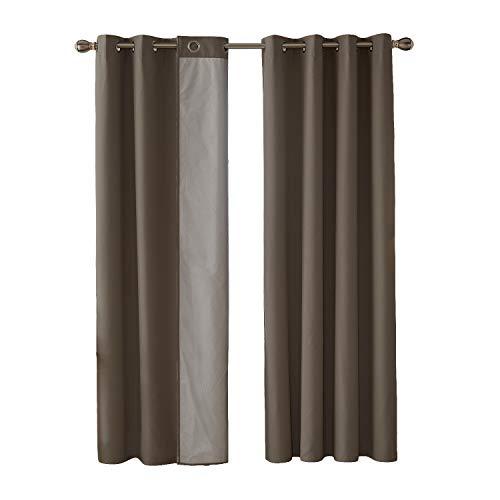 Deconovo Cortinas Dormitorio Térmicas Asilantes con Forro para Ventanas 2 Piezas 140 x 180 cm Caqui Oscuro