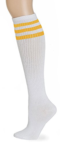 Leotruny Classic Triple Stripes Knee High Tube Socks (White/Yellow)