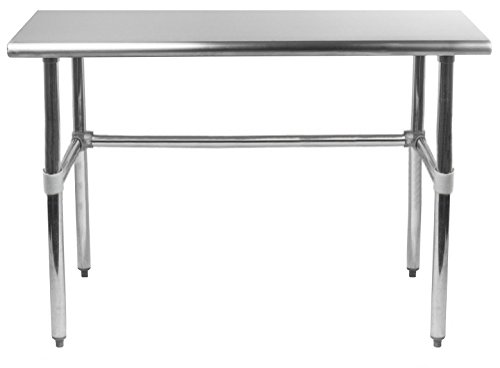 14' X 30' Open Base Stainless Steel Work Table | Residential & Commercial | Food Prep | Heavy Duty Utility Work Station | NSF