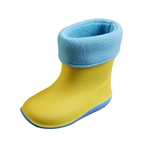 Gefütterte PVC Kinder Regenstiefel TTLOVE Kind Junge Mädchen Cartoon wasserdichte Schadstofffreie Gummistiefel Säuglings Baby Winter Plus Samt Warme Regen Schuhe(Gelb,25 EU)
