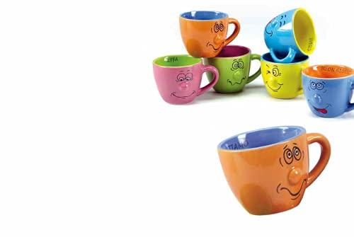Kasahome Tazzine da caffè Tazza da Caffe Smorfie Facce con Manico Colorate Kit Colazione Colori Assortiti
