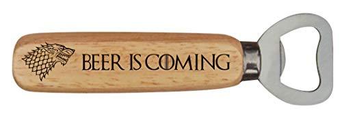Apribottiglie con manico in legno ispirato al Trono di Spade, motivo: Beer is Coming House Stark