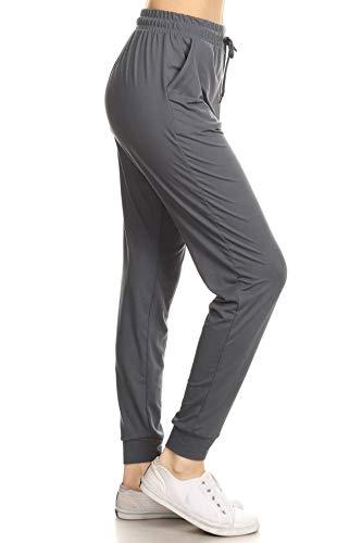 Leggings Depot JGA128-CHARCOAL-L Solid Jogger Track Pants w/Pockets, Large