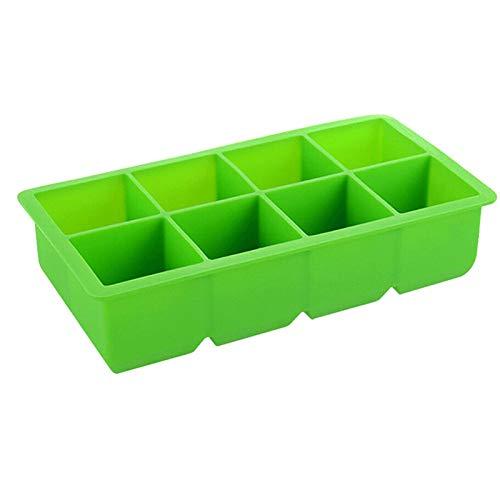YKW 8 cuadrículas Grandes de Grado alimenticio Silicona Hielo Cubo Cubo Jumbo Gran Cubo de Hielo Cubo Cuadrado Bandeja de Molde de Bricolaje Accesorios de Cocina (Color : Green)