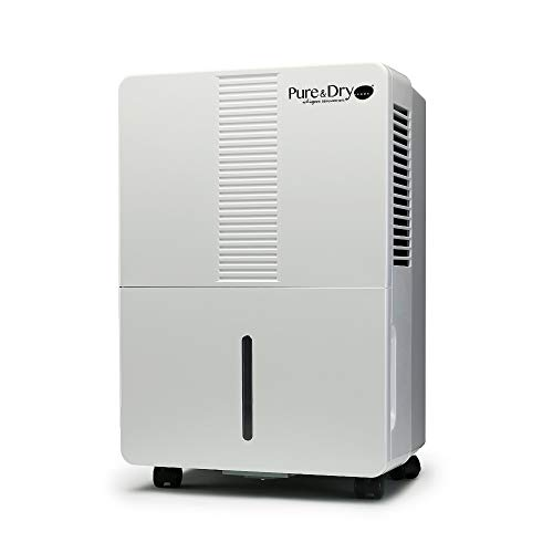 Pure & Dry Whisper 70-Pint Energy Star Portable Dehumidifier Without Built-in Pump - Perfect for Basements and Large Rooms - Digital Humidistat - Full Tank Alert System