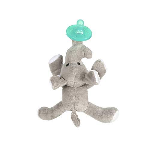 Carolilly Cartoon Schnuller Baby Kiefergerecht Schnuller mit Plüschtier Schnuller Neugeborenes Spielzeug Silikon Schnuller (Elefant, 7 cm x 3)