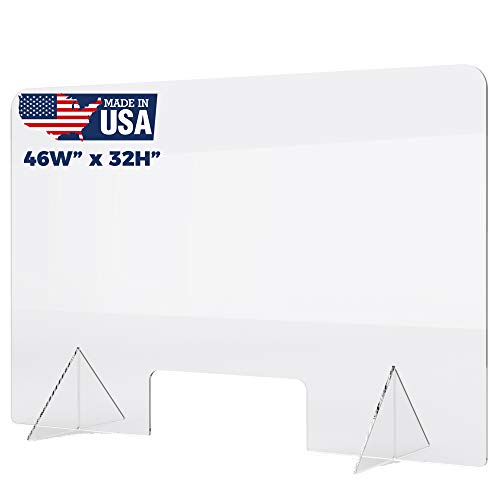 Plexiglass Sneeze Guard - Protective Freestanding Shield Guards Against Sneezing and Coughing/Transaction Window for Offices and Stores (46'W x 32'W)