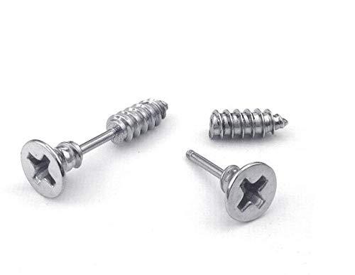 NDMPL 1 Pc Titanium Geanodiseerd Rvs Oor Lichaam Sieraden Helix Piercing Lag Spike Schroef Oor Stud Oorbel Nep Brancards Plug Zilver