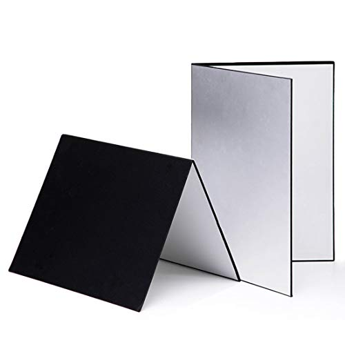 Meking 3 in 1 Photography Reflector Cardboard, 12 x 8 inch Folding Light Diffuser Board for Still Life, Product and Food Photo Shooting - Black, Silver and White, 2 Pack
