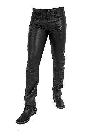 Unbekannt Jonny Herren Lederhose aus echtem Lamm Nappa Leder Eng Geschnitten Slim (Schwarz, 28)