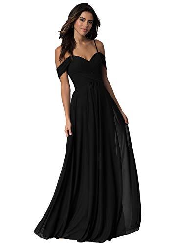 Miao Duo Chiffon Off Shoulder Bridesmaid Dresses Women Long Wedding Evening Gown 22 Plus Black