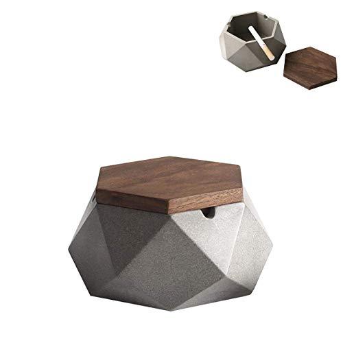 Aschenbecher mit Deckel für Draussen Gray Zement Dekoration Wohnung,118 * 55mm,Grau Aschenbecher Beton,Geometrische Deko Hochzeit