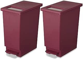 新輝合成 フタ付きゴミ箱 ユニード ゴミ箱 ペダル プッシュ ペール ワイン 2個セット 45L