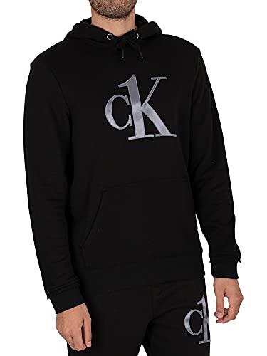 Calvin Klein de los Hombres Sudadera con Capucha y Cremallera Graphic Lounge, Negro, L