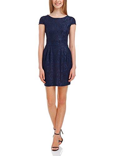 oodji Ultra Damen Tailliertes Kleid mit Spitze, Blau, DE 34 / EU 36 / XS