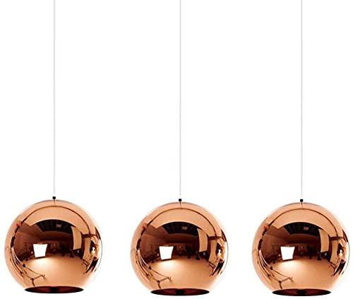 Modern Dining Room Light Chandelier, 3-Flame E27 Socket Pendant Light Hanging Lamp, Red Copper Round Gals Globe Hanging Light for Restaurant Cafe Bar