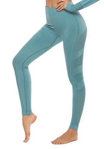 FITTOO Leggings Sin Costuras Corte de Malla Mujer Pantalon Deportivo Alta Cintura Yoga Elásticos Fitness Seamless #1 Azul S