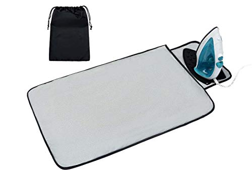 Acmebon Portable Ironing Mat with Heat Resistant Silicone Iron Rest Pad, Thick Large Travel Ironing Blanket Silver